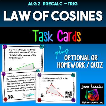 Trigonometry Law of Cosines Task Cards