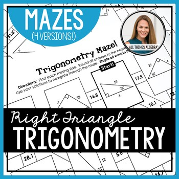 Trigonometry (SOH CAH TOA) Mazes by All Things Algebra ...