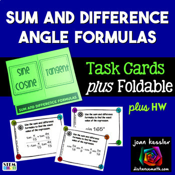 Trigonometry Sum and Difference Identities Task Cards plus