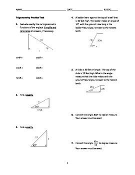 Trigonometry Test BUNDLE