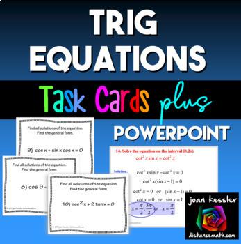 Trigonometry  Trigonometric Equations Task Cards  PowerPoint