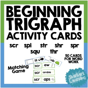 Beginning Trigraph Activity Card Games - for word work or