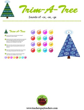 Trim-A-Tree Christmas Phonics Game Activity Sounds of -ce,