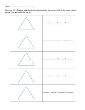 Triominoes adding three addends