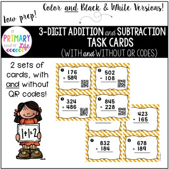 Triple Digit (3 Digit) Addition & Subtraction Task Cards (