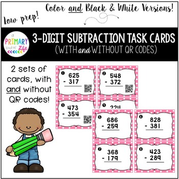 Triple Digit (3 Digit) Subtraction Task Cards with Regroup
