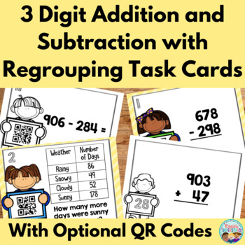 Triple Digit Addition and Subtraction Task Cards with QR Codes