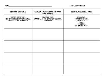 Triple Entry Diary- Common Core Graphic Organizer