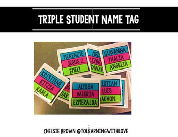 Triple Student Name Tags
