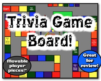 Trivia Game Board!  9 Movable Pieces!  Great for class rev