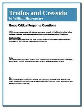 Troilus and Cressida - Shakespeare - Group Critical Respon