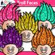 Rainbow Troll Clip Art {Glitter Gnome Heads for Digital Sc