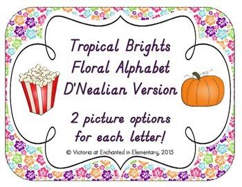 Tropical Brights Floral Alphabet Cards: D'Nealian Version