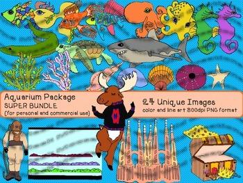 Tropical Fish Aquarium Clipart SUPER BUNDLE  {for personal