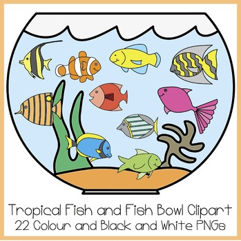 Tropical Fish and Fish Bowl Clipart