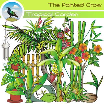 Tropical Garden Clip Art - Plants - Vegetation - Color & B
