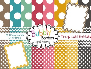 Tropical Getaway Set~ Chevron & Polka Dots Backgrounds wit