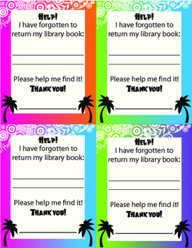 Tropical Overdue Library Notice