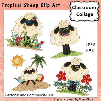 Tropical Sheep Clip Art - color - personal & commercial use