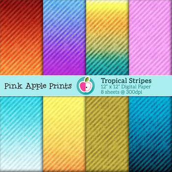 Tropical Stripes Style Digital Paper Texture Set - Graphic
