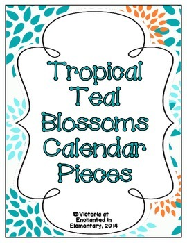 Tropical Teal Blossoms Calendar Numbers, Months and Days