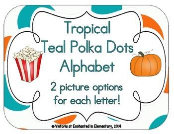 Tropical Teal Polka Dots Alphabet Cards