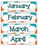 Tropical Teal Polka Dots Calendar Numbers, Months and Days