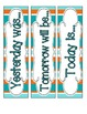 Tropical Teal Stripes Calendar Numbers, Months and Days