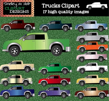 Trucks Clipart - Color and Black line