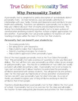 True Colors Personality Test (freebie)