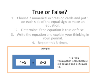 True or False (Equalities/ Comparative Relational Thinking