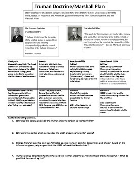 Truman Doctrine/Marshall Plan Reading with Questions