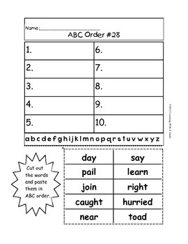 ABC Order FREE ~ Great for Literacy Centers!