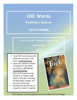 Tuck Everlasting-100 Words Quizzes
