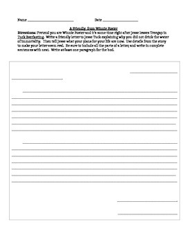 Tuck Everlasting Friendly Letter