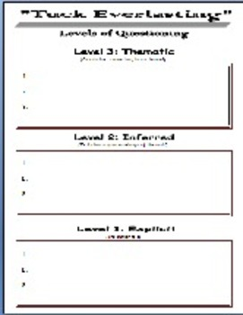 Tuck Everlasting: Levels of Questioning