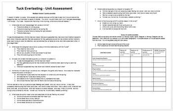Tuck Everlasting Post Assessment - Text Dependent Question