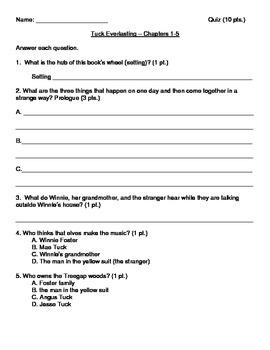 Tuck Everlasting Quiz Packet