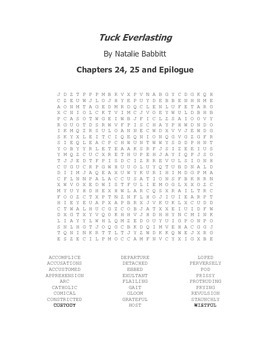 Tuck Everlasting Vocabulary Word Search Chapters 24, 25 an
