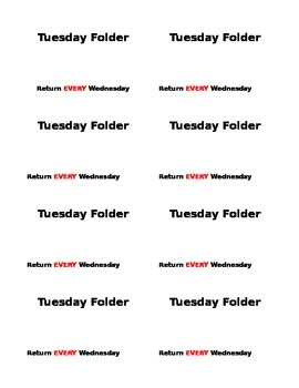 Tuesday Folder labels
