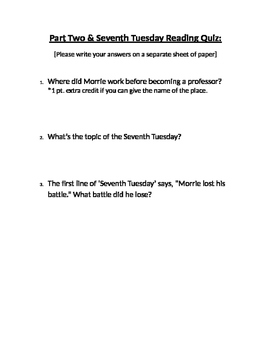 Tuesdays with Morrie Reading Quiz (Part 2 & 7th Tuesday)