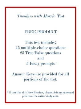 Tuesdays with Morrie by Mitch Albom- TEST ONLY- FREE PRODUCT