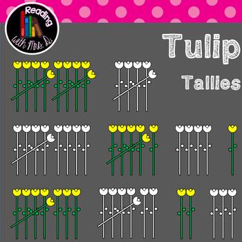 Tulip Flower Tallies Clip Art (b&w included)