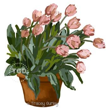Tulips in Pot - tulips graphic, tulip clip art Printable T