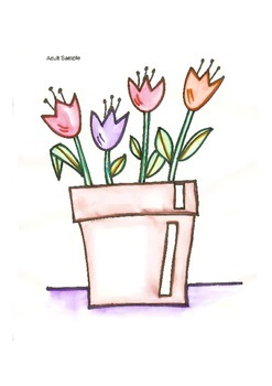 Elementary Visual Art Project - Tulips in a Pot