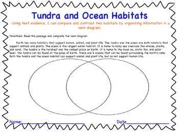 Tundra & Ocean Habitat Nonfiction Compare and Contrast Assessment