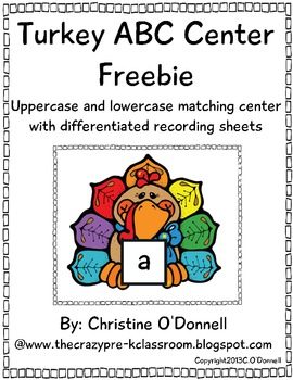 Turkey ABC letter matching center! Common Core, Word Work