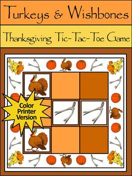 Turkey Activities: Turkeys & Wishbones Thanksgiving Tic-Ta