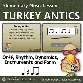 Turkey Antics:  Orff, Rhythm, Form and Instruments (Eighth Notes)