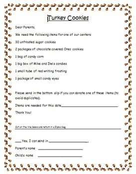 Turkey Cookie Parent Supply Note FREE
